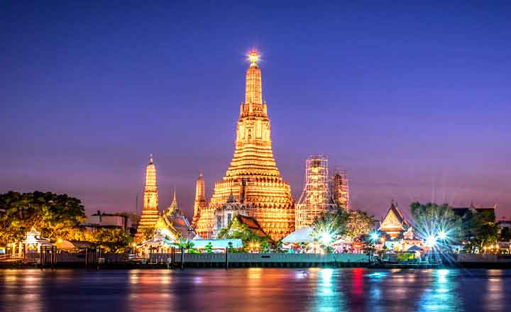 Download wallpaper 3840x2400 bangkok, night city, view